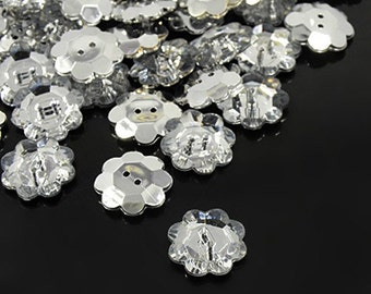Flower Acrylic Rhinestone Button - 15mm - Set of 25 - #BUTTON159