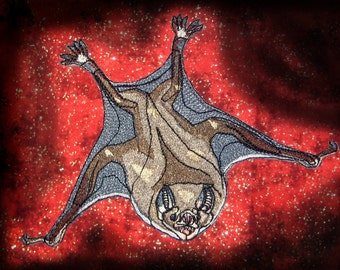 Awesome life like Vampire Bat Iron on patch