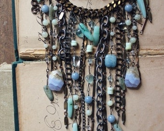 The Siren. Rustic Vintage Boho Beach Mermaid Statement Gemstone Fringe Necklace.