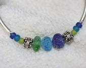 Genuine Sterling silver and sea glass beach glass bracelet in cobalt, turquoise and green color