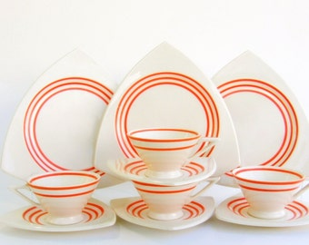 Creamsicle Atomic Art Deco Dinnerware Set for 4, 8 or 12: Salem Streamline & Tricorne w/ Bright Orange Rings - Rare, Vintage Wedding China