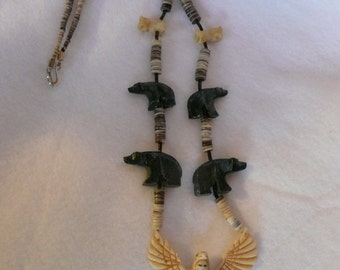 Native American Style Fetish Thunderbird Kachina and Grizzly Bear Necklace with Lip Shell Heishi