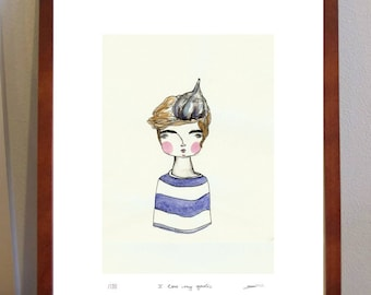 I Love My Garlic -  A4 Print of sailor girl with garlic on her head