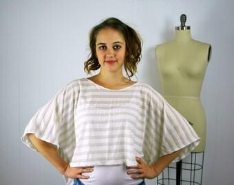 Lightweight Stripe Crop Top, Women's Crop Top, Striped Top, Over-size T-shirt, Beach Cover-up