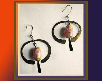 Inner FIRE, Hammered Brass Artisan Boho Earrings, Iridescent Art Glass Beads, Beautiful Glowing Colors, Warm Orange, Vintage Jewelry, Women