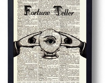 Original Art Print on A Vintage Dictionary Book Page Fortune Teller Crystal Ball Mystical
