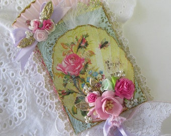 Marie Antoinette ATC ACEO With Moveable fan Artist Trading Card Original Art Card Mixed Media ATC
