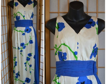 50s floral print silk gown with chiffon sash womens size small