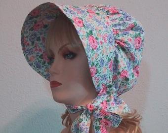 Sun Bonnet - Pastel Floral - Pioneer Costume - Cotton Floral Print - Frontier SASS - Ladies Size