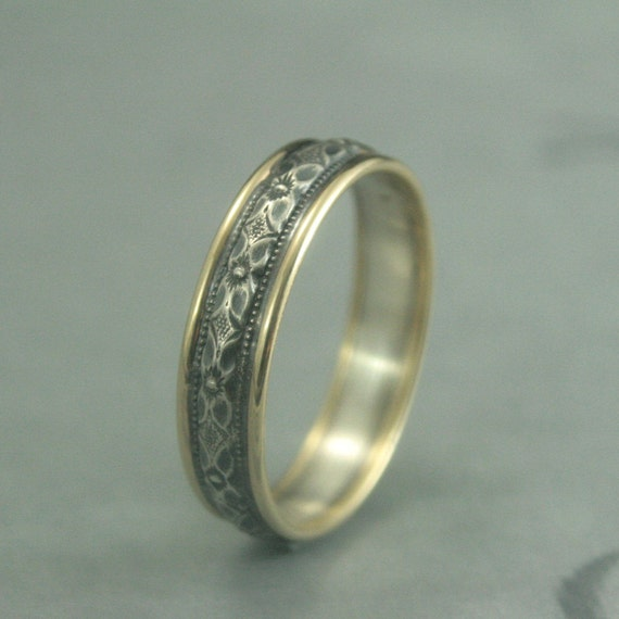 Touch Of Gold Renaissance Wedding Band Bimetal Ring Two Tone