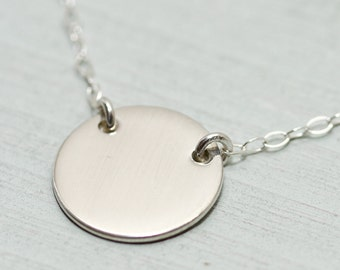 Sterling silver disc necklace - sterling silver necklace - dainty silver necklace - silver jewelry - simple silver necklace - minimalist