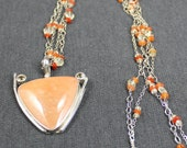 Orange Chalcedony Necklace with Citrine accents