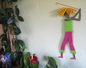 Metal Wall Art Lady Golfer Sculpture Blonde Golfing Wall Decor Sports Figure Hot Pink Lime Green Female Athlete 8 x 21