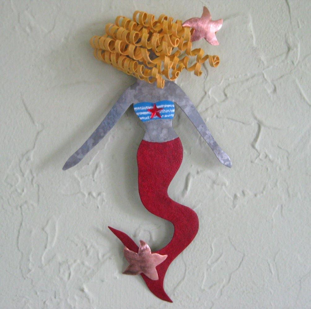 Mermaid Art Metal Wall Sculpture Opal By Frivoloustendencies