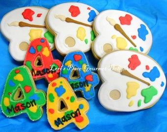 Painters Party Cookies - Painters Pallet Cookies - 12 Cookies