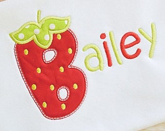 Strawberry Custom Embroidered T- Shirt - Sample SALE