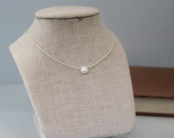 Button Pearl and Sterling Silver Necklace