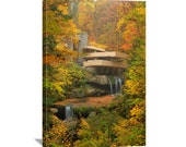 "Architecture Nature Photography ""Fallingwater in Autumn"" Photo Frank Lloyd Wright House Photo Art Print Canvas Wall Art Canvas Gallery Wrap"