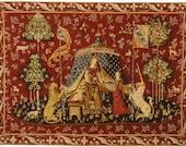 Tudor Dollhouse Carpet, Medieval Carpet, Lady and Unicorn Carpet, Musical Mini carpet, twelfth scale dollhouse miniature