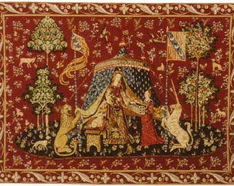 Tudor Dollhouse Carpet, Medieval Carpet, Lady and Unicorn Carpet, Musical Mini carpet, twelfth scale dollhouse miniature