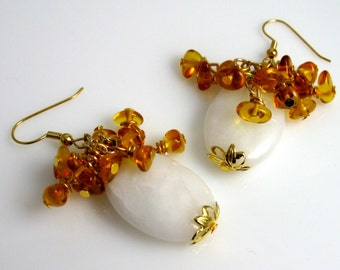 Amber chips earrings, milk and honey beaded dangles on gold plated wires