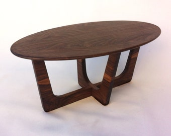 Mid Century Modern Oval  Coffee Table 20x40 Adrian Pearsall inspired Solid Walnut Cocktail Table - Surfboard Shape Elliptical