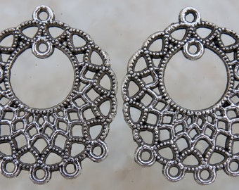 32x28x1mm (2mm hole) Antique Silver Base Metal Earring Components or Pendants (G251)