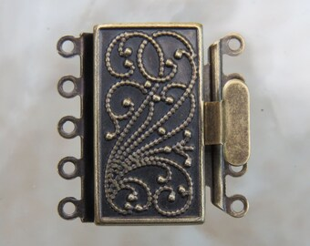 23x21x4.5mm Antique Brass Finish on Solid Brass Metal 5 Strand Box Clasp (FS42)