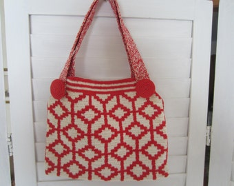 Purse, Bag Red and Off White Cotton from 50s