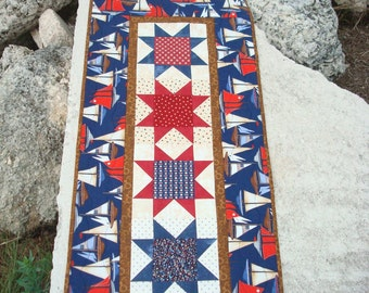 Red White Blue Nautical Sailboat Table Runner