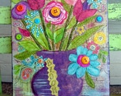 Original Shabby Chic Mixed Media Flowers Buttons Bloom Collage on Canvas