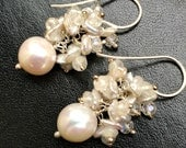 Wedding Earrings, Ivory Pearl Cluster Earrings, Sterling Silver Wire Wrap, Keishi Pearl Cluster White Topaz, White Earrings
