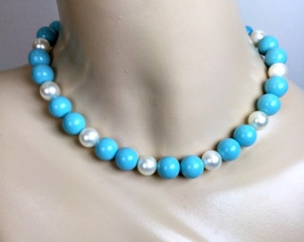 Vintage Turquoise Choker Turquoise Beaded Necklace White Pearls Turquoise Handmade Choker Statement Necklace Spring Fashion Preppy Choker