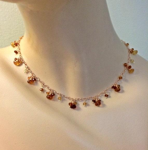 hessonite garnet choker earring necklace set by
