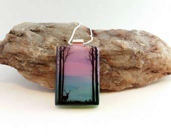 Deer in the Woods Scenic Silhouette Fused Glass Dichroic Pendant/Necklace