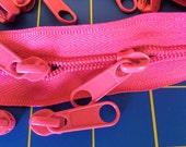 Purse Zippers:  Hot Pink Zipper 3mm & 5mm - 2 yds/8 long pulls each size