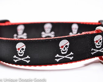 Pirate Skull Dog Collar / Skulls Crossbones / Custom Dog Collar