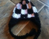 Crochet  Hat, Crochet Checkered Flag Hat, Newborn Hat, Baby Boy Hat, Toddler Hat, Baby Girl Hat, CHECKERED FLAG BOARD Hat (Ready to Ship)