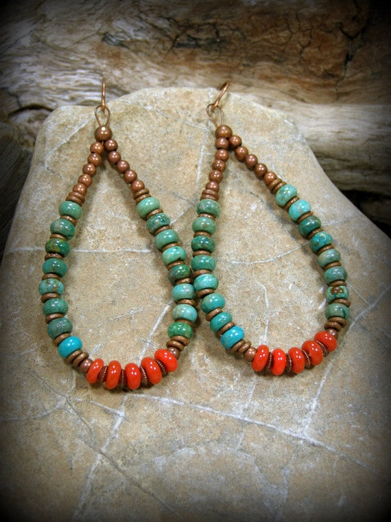 Turquoise earrings hoop earrings southwest earrings native for How to make american indian jewelry
