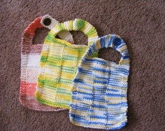 Knitted Cotton Baby Bibs