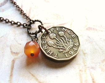 Thre'penny Bit - Antique Brass Coin and Gemstone Handmade Necklace