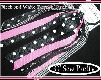 PONYTAIL HOLDERS, Black and White Ponytail Streamers, ponytail streamers, Girls hair accessories, Ribbon Ponytail Holders, Polka dot Bows