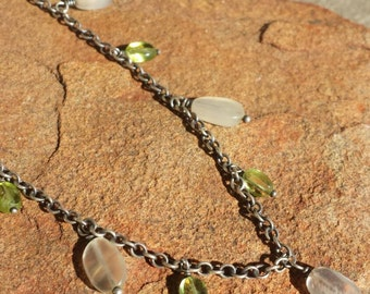 Peridot and Moonstone Drop Necklace - Gemstone and Sterling Silver 18 inches - Handmade