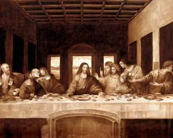 coffee art, The Last Supper, painted using only coffee, religious, humor, espresso, funny