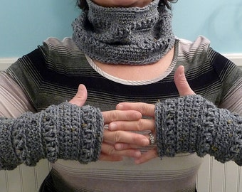 Hand Crocheted Gray Fingerless Gloves and matching Scarflette