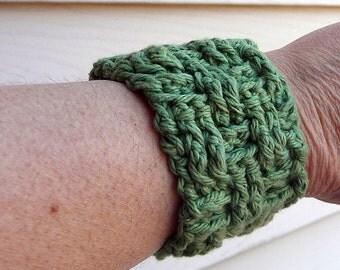 Hand Crocheted Green Bracelet Cuff