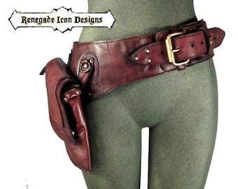 leather hip bag, thigh bag, hip belt, utility belt, holster belt, festival belt by Renegade Icon designs