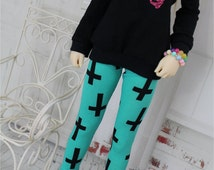 SD Bjd Clothes - Black Cross Leggings for 1/3 Dollfie, Pants Ball Jointed Doll Clothes Abjd - Goth