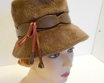 Vintage 1960s Mod Hat Bucket Hat Style Furry with Vinyl Trim