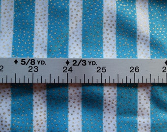 1 Yard Blue and White Striped Swim Suit Fabric with Gold Sparkles Throughout
